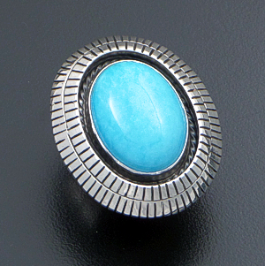 Navajo - Oval Turquoise & Sterling Silver Shadowbox Double Edged Ring #22559 Size 6 $150.00