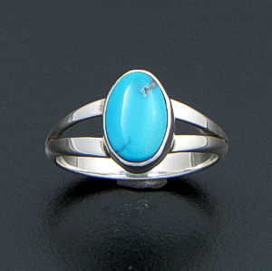 Navajo - Oval Blue Turquoise & Sterling Silver Split Wire Ring #22712 $70.00