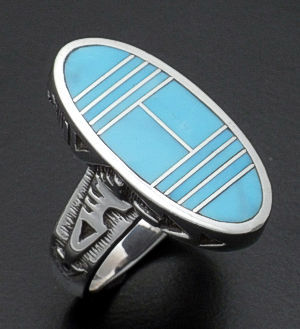 Supersmith Inc. - David Rosales Designs - Azizona Blue Oval Inlay & Sterling Silver Textured Ring #24328 Style R187 $230.00