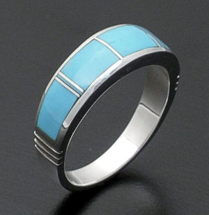 Supersmith Inc. - David Rosales Designs - Arizona Blue Tapered Inlay & Sterling Silver Ring #24522 Style R119 $165.00