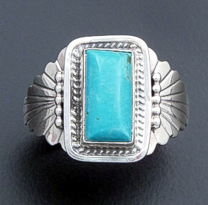 Navajo - Rectangular Blue Turquoise & Sterling Silver Ring #26432 Size 12.5 $90.00