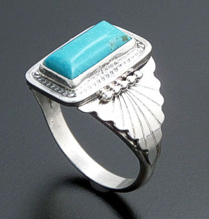 Navajo - Rectangular Blue Turquoise & Sterling Silver #26432 Size 12.5 $90.00