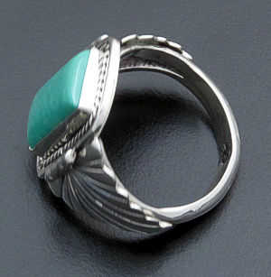 Navajo - Rectangular Green Turquoise & Sterling Silver #26432 Size 9.5 B $90.00