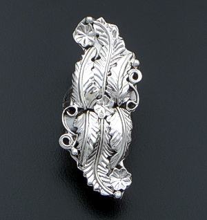 Harry R. Yazzie (Navajo) - Long Multiple Feather & Flower Sterling Silver Ring #2711 $85.00