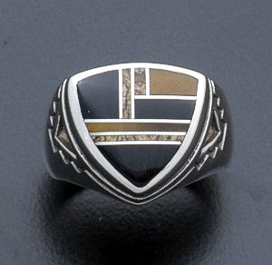 Supersmith Inc. - David Rosales Designs - Native Earth Inlay & Sterling Silver Shield Ring #27271 Style R182 $190.00