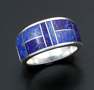 Supersmith Inc. - David Rosales Designs - Blue Water Tapered Inlay & Sterling Silver Ring #29324 Style R014 $195.00