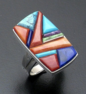 Supersmith Inc. - David Rosales Designs - Indian Summer Rectangular Cobble Inlay & Sterling Silver Ring #29332 Style R174C $290.00