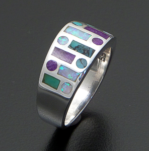 Supersmith Inc. - David Rosales Designs (Navajo) - Shalako Inlay & Sterling Silver Tapered Code Talker Ring #29716 Style R153 $270.00