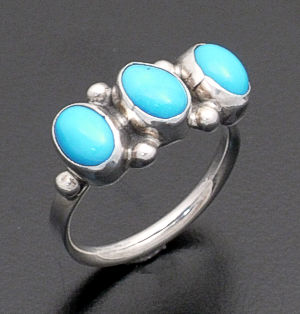 Navajo - Triple Turquoise & Sterling Silver Ring #30600 $50.00
