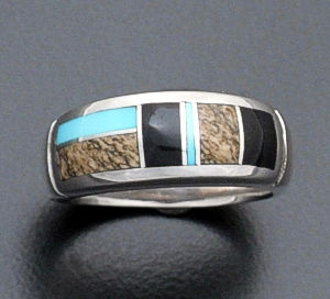 Supersmith Inc. - David Rosales Designs - Turquoise Creek Rounded Inlay & Sterling Silver Ring #31414 Style R021 $150.00