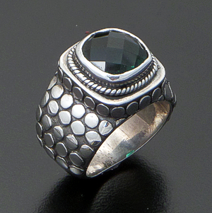 Balinese - Faceted Square Green Quartz & Sterling Silver Armadillo Ring #32489 Size 6 $135.00