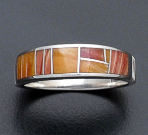 Supersmith Inc. - David Rosales Designs - Desert Fire Tapered Inlay & Sterling Silver Ring #33045 Style R119 $180.00