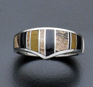 Supersmith Inc. - David Rosales Designs - Native Earth Tapered Inlay & Sterling Silver Ring #33065 Style R017 $165.00
