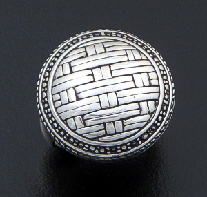 Balinese - Sterling Silver Basket Weave Button Ring #34444 Size 7 $165.00
