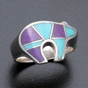 Supersmith Inc. - David Rosales Designs - Turquoise & Sugilite Inlay Sterling Silver Bear Ring #35452 Style R257 $190.00