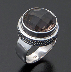 Balinese - Faceted Round Smoky Quartz & Sterling Silver Rope Trimmed Ring #35745 Size 6 $90.00