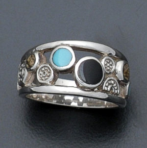Supersmith Inc. - David Rosales Designs - Turquoise Creek Inlay & Sterling Silver Pebble Ring #36104 Style R445 $135.00