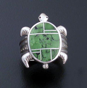 Supersmith Inc. - David Rosales Designs (Navajo) - Chaparral Inlay & Sterling Silver Turtle Ring #36244 R246 $325.00
