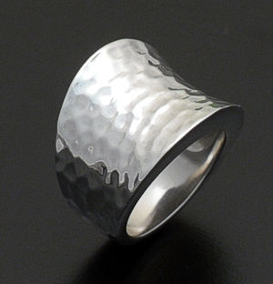 Zina - Concave Hammered Sterling Silver Ring #36567 Size 6 $240.00