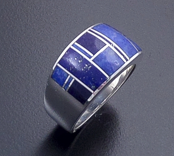 Supersmith Inc. - David Rosales Designs (Navajo) - Blue Water Inlay & Sterling Silver Tapered Square Top Ring #36608 R132 $235.00