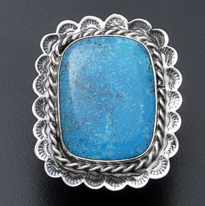 Everett & Mary Teller - Large Rectangular Kingman Turquoise & Scalloped Sterling Silver Ring #37502 Size 12 $210.00