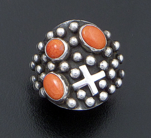 Ronnie Willie - Orange Spiny Oyster Shell & Sterling Silver Four Corners Beaded Ring #37553 Size 7.5 $165.00