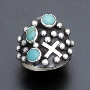 Ronnie Willie - Green Turquoise & Sterling Silver Beaded Four Corners Ring #37905 Size 9 $165.00