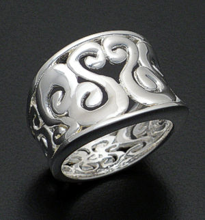 Zina - Concave Sterling Silver Seville Ring #37930 Size 8 $180.00