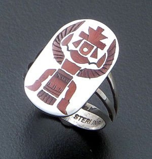Harlan Coonsis (Zuni)- Coral Inlay & Sterling Silver Knife Wing Eagle Dancer Ring #38358 Size 7 $315.00