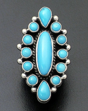 Geneva Apachito - Turquoise & Sterling Silver Cluster Ring #38902 $240.00