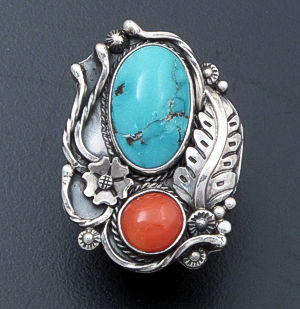 L.T. Chee (Navajo)- Turquoise & Coral Sterling Silver Feather Design Ring #39023 Size 7.5 $240.00