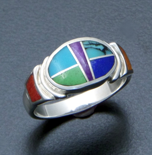 Supersmith Inc. - David Rosales Designs - Indian Summer Inlay & Sterling Silver Oval Ring #39415 Style R331 $290.00