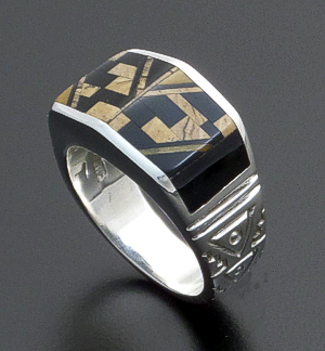 Supersmith Inc. - David Rosales Designs - Native Earth Micro Inlay & Sterling Silver Angular Ring #39435 Style R118M $300.00