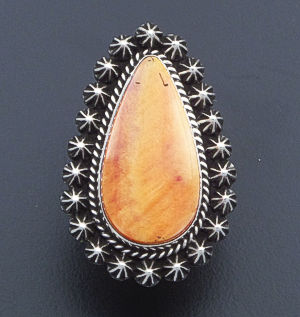 Happy Piasso (Navajo)- Orange Shell & Oxidized Sterling Silver Teardrop Ring #39762 Size 9 $240.00