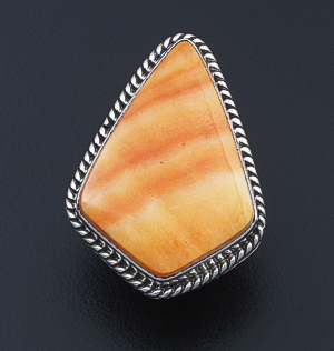 Albert Jake (Navajo) - Large Orange Shell & Sterling Silver Angular Teardrop Ring #39767 Size 8 $375.00