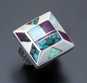 Supersmith Inc. - David Rosales Designs - Shalako Inlay & Sterling Silver Square Pyramid Ring #40023 Style R644 $275.00