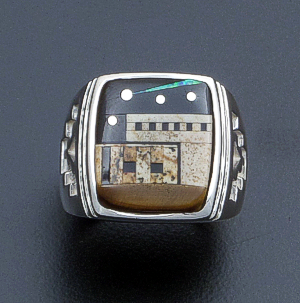 Supersmith Inc. - David Rosales Designs - Twilight Pictorial Micro Inlay & Sterling Silver Adobe Ring #40024 Style R151F $445.00