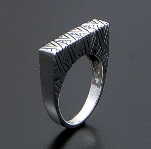 Stamped Tall Rectangular Sterling Silver Ring #40793 $40.00