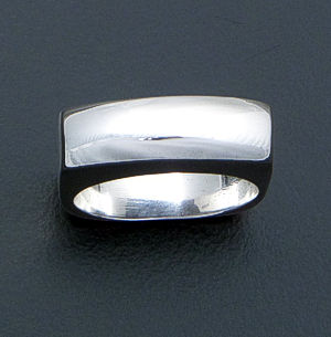 Tall Rectangular Smooth Sterling Silver Ring #40797 Size 6 $40.00