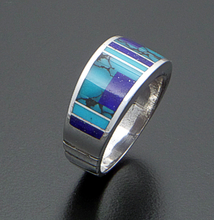 Supersmith Inc. - David Rosales Designs (Navajo) - Vintage Turquoise & Lapis Inlay Tapered Sterling Silver Ring #40929 Size 7.5 $195.00