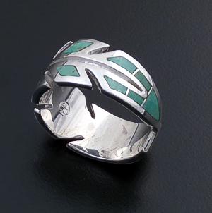 Supersmith Inc. - David Rosales Designs (Navajo) - Kingman Turquoise & Sterling Silver Feather Ring #41156 R3006 $270.00