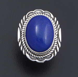 Navajo - Bordered Oval Lapis Lazuli & Sterling Silver Ring #41203 $135.00