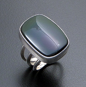 Navajo - Rectangular Obsidian & Sterling Silver Split Wire Ring #41377 $75.00