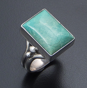 Navajo - Rectangular Green Turquoise & Sterling Silver Bead Accented Ring #41402 $90.00