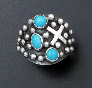 Ronnie Willie - Blue Turquoise & Sterling Silver Four Corners Beaded Ring #41878 $180.00