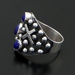 Ronnie Willie (Navajo) - Lapis Lazuli & Sterling Silver Beaded Four Corner Ring #41883 $165.00