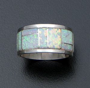 Belvera Cachini (Zuni) - Wide Opal & Sterling Silver Channel Inlay Ring #41916 $75.00