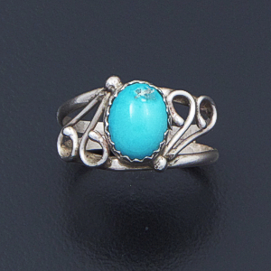 Maxine Calladito (Navajo) - Turquoise & Sterling Silver Swirl Accented Ring #41919 Size 6.5 $40.00