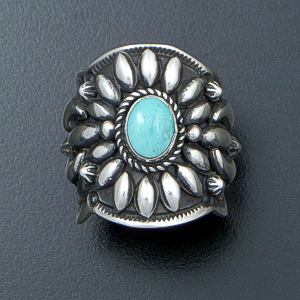 Darryl Becenti (Navajo) - Ornate Kingman Turquoise & Sterling Silver Scalloped Edge Ring #42085 Size 8.5 $295.00