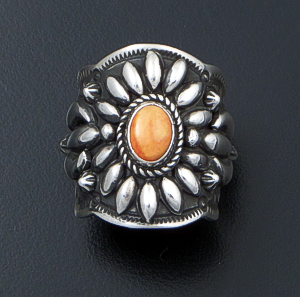 Darryl Becenti (Navajo) - Ornate Orange Spiny Oyster Shell & Sterling Silver Scalloped Edge Ring #42087 Size 8.5 $295.00